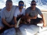 Los jumillanos Pedro David Martínez, José y Manuel Coloma junto a Juan Angel Belda capturan un atún rojo de 190 kilos practicando pesca deportiva en Denia