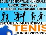 Abierto de desde hoy lunes el periodo de inscripciones para el curso 2019/20 de las Escuelas Municipales de Tenis, Baloncesto, Balonmano y Fútbol