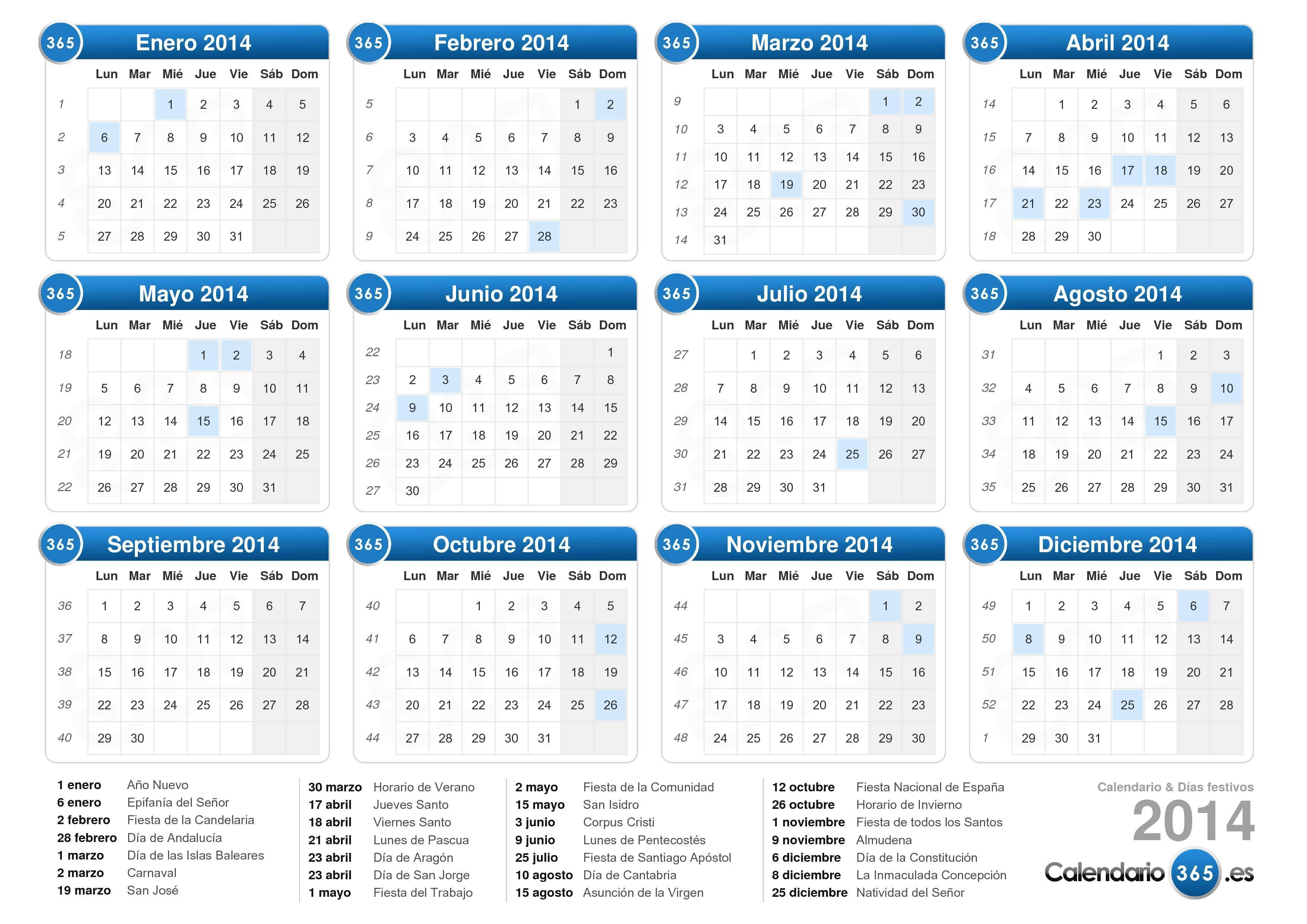 ... , Formación y Empleo, el calendario laboral para el año 2014