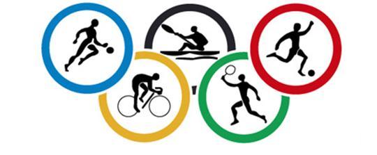 Imagen de los aros de las olimpiadas y algunas disciplinas practicadas por atletas.
