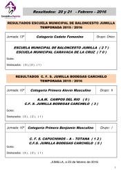 Resultados 20 y 21 febrero 2016