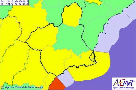 Avisos amarillos 5 marzo mapa 2